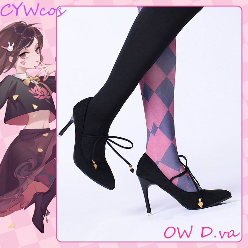 OW Game D.va Black Cat luna Cosplay <font><b>Shoes</b></font> Song Hana Black High Heels Daily <font><b>Shoes</b></font> <font><b>DVA</b></font> Women <font><b>Shoes</b></font> image