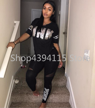 5 COLORS Fashion sexy women casual letter patchwork two pieces suits casual nightclub party tracksuit S-3XL(China)