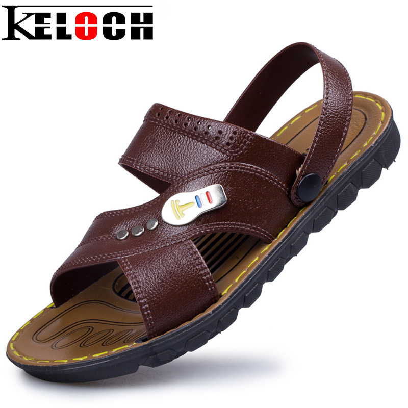 Keloch 2017 Summer Men PU Leather Sandals Fashion Male Outside Slippers Men Casual Beach Shoes Soft Sandalia Masculina summer men sandals han edition leather sandals beach shoes slippers male fashion casual shoes men s shoes leather sandals