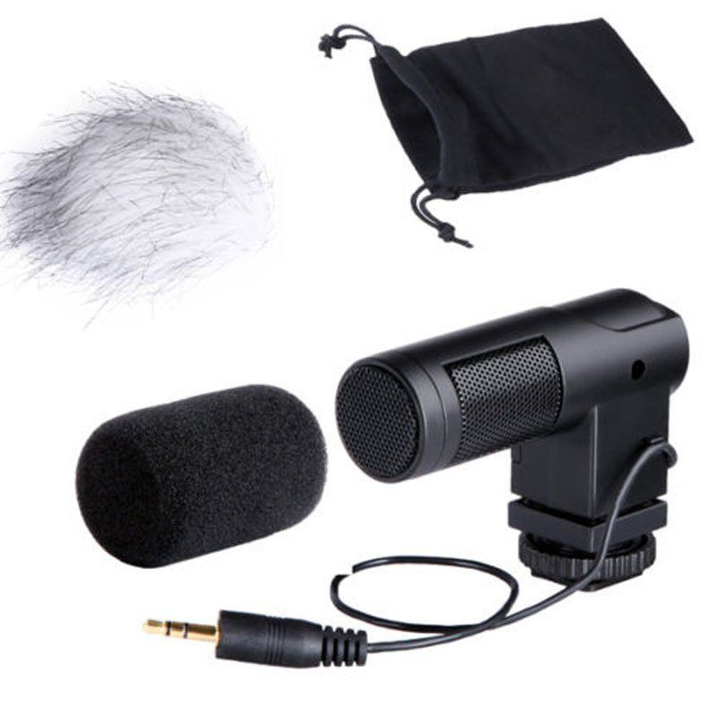 BOYA BY-V01 Stereo Condenser Microphone w/ Windshield for Canon 5D II 5D3 7D 6D 70D 60D 600D 650D DSLR