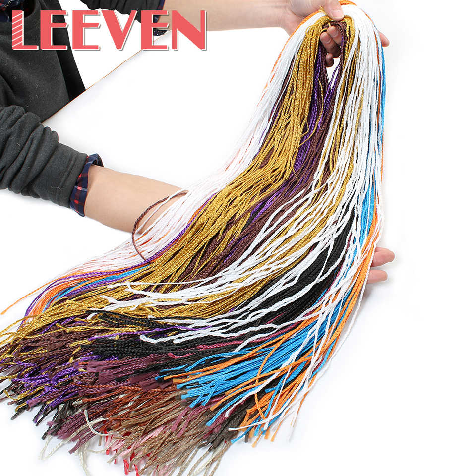Leeven 28 ''плетение волос длинные Красочные синтетические Zizi коробка косички волосы кроше для наращивания розовый написать фиолетовое волокно 45 г