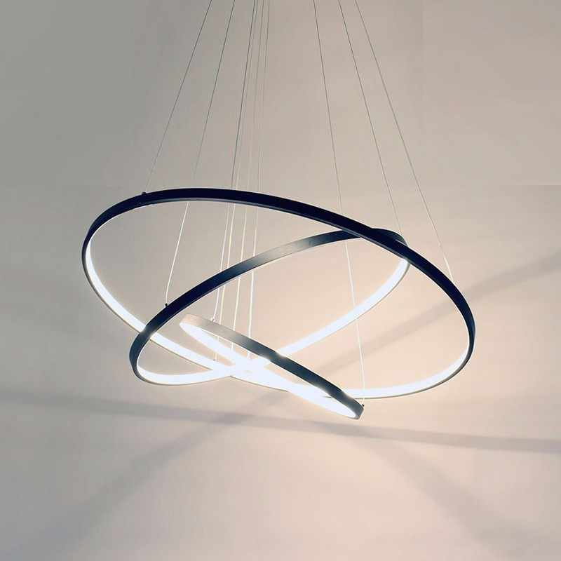Rings Modern LED Pendant Lights For Living Dining Room Black White Home Restaurant Decor Hanging Lamp Fixture With Remote Lustre