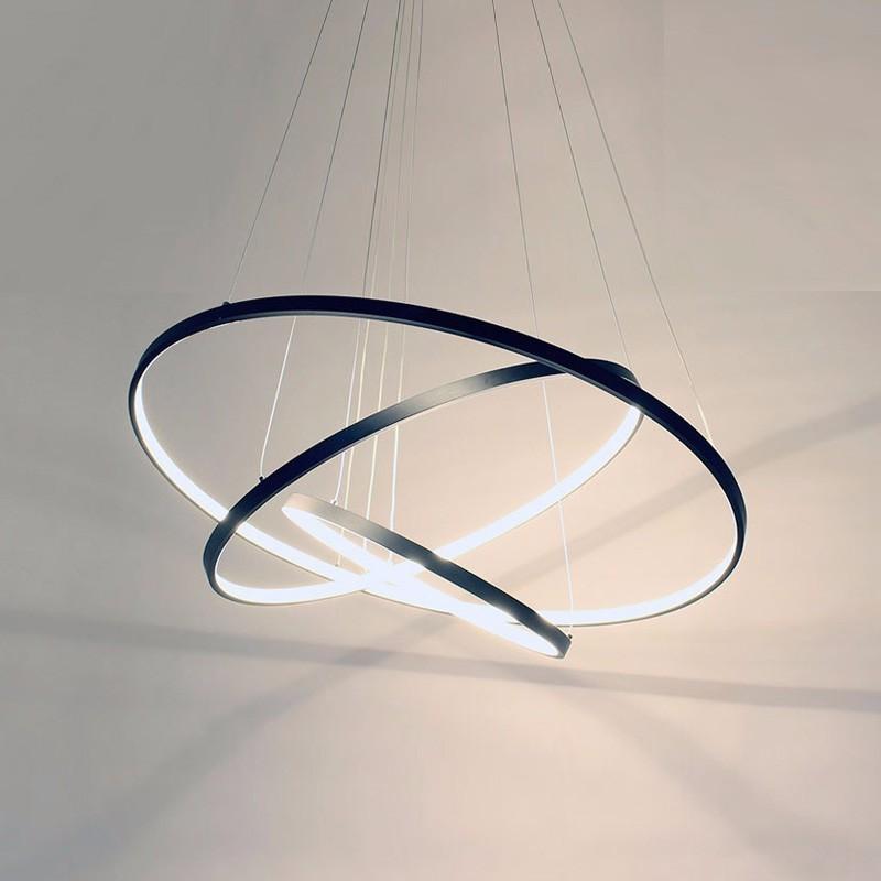 Rings Modern LED Pendant Lights For Living Dining Room Black White Home Restaurant Decor Hanging Lamp Fixture With Remote Lustre