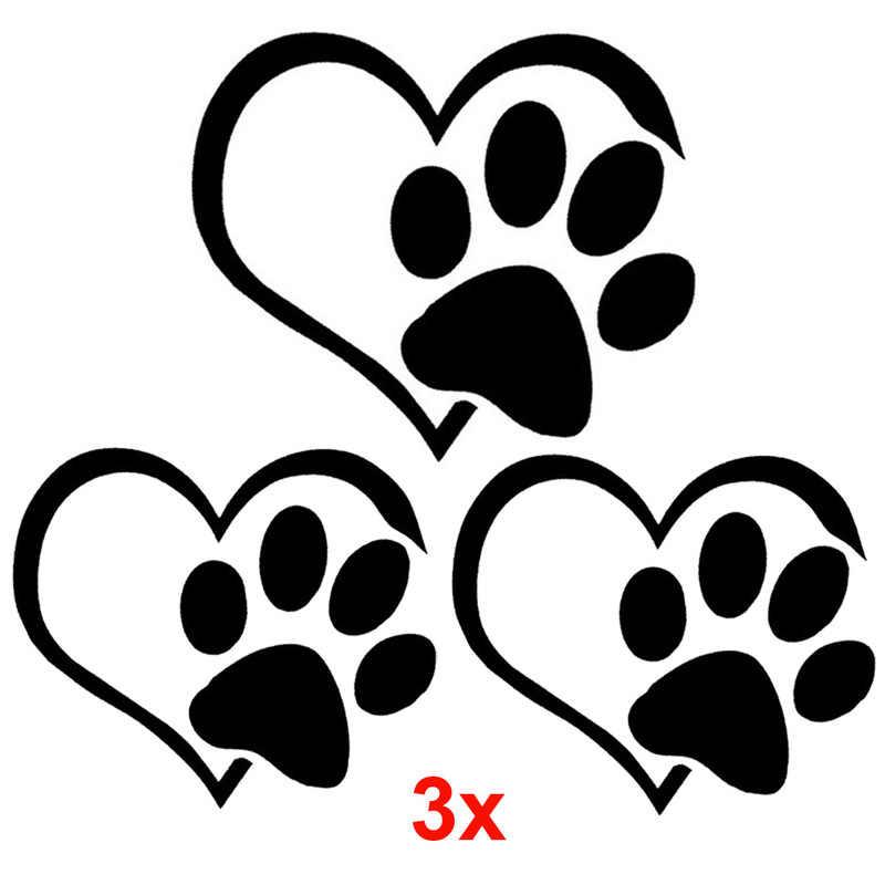 02d1745d7417 ... 3pcs Car Stickers Cute Cat Dog Paw Print Reflective Car Decal Sticker  Window Footprint Decals Free ...