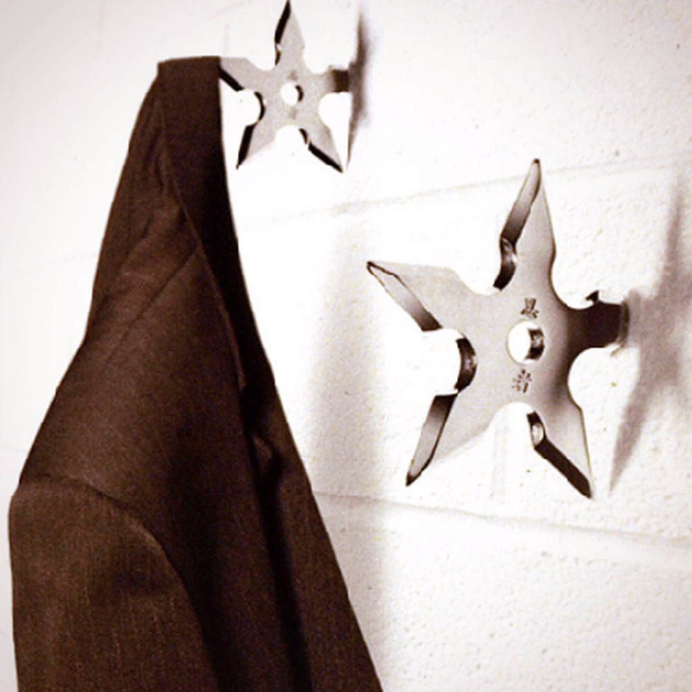 5PCS Ninja Throwing Star Cap Coat Hooks Holder Bedroom Wall Stainless Steel Hangers