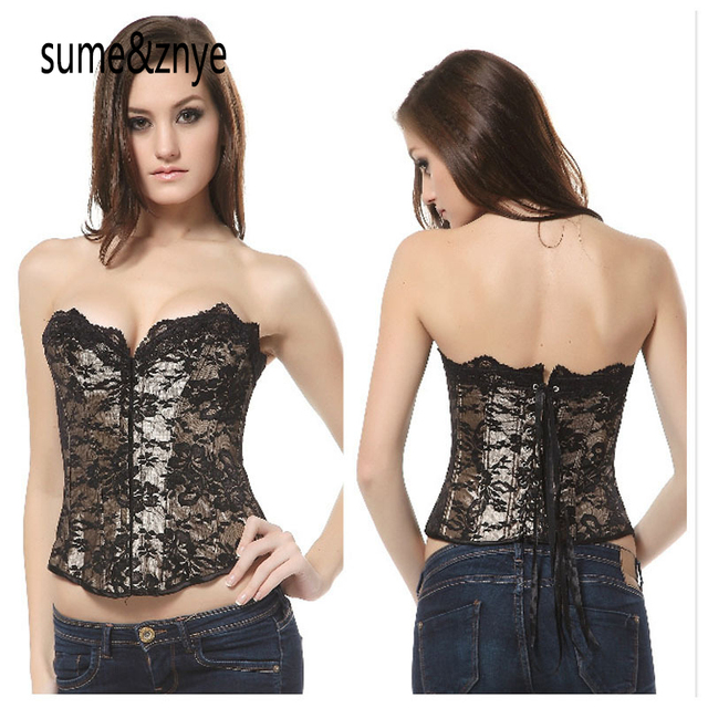 2017 women waist trainer sexy Slim Leather steampunk corselet golden lace embroidery waist slimming party corsets and bustiers