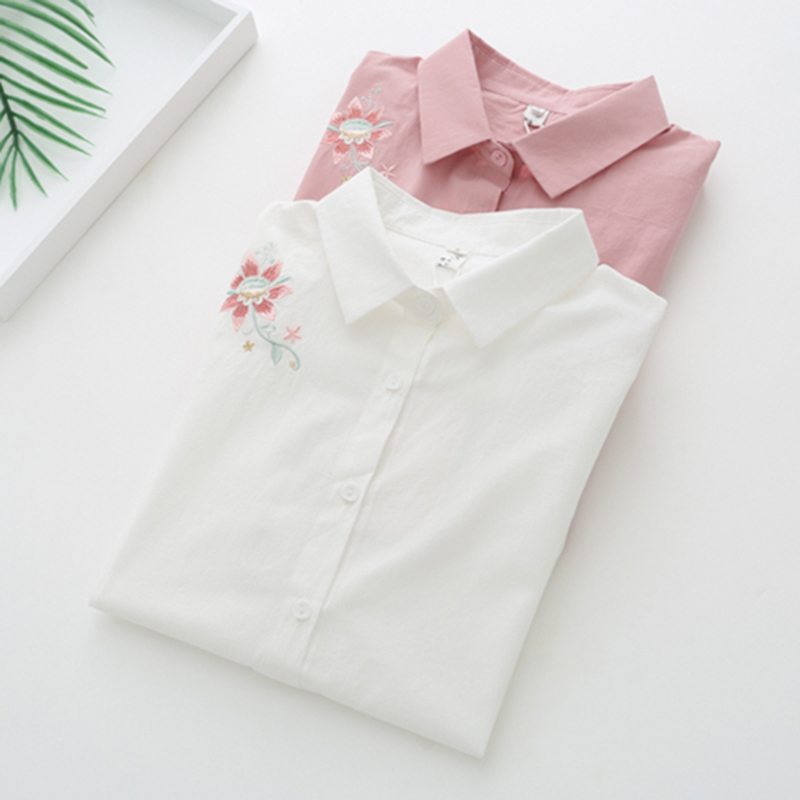 Dioufond White Pink Shirts Embroidery Women Blouses Long Sleeve Female Tops Autumn Work Clothing Cotton Korean Style B ...