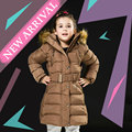 Baby Girls Fur Hooded Winter Coat 2016 Single Breasted Solid Parka for Children 4-10 Years Girls Velvet Zipper Snowsuit