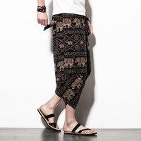LFF 2018 Men Summer Fashion Brand Thailand Nepal Style Cotton Linen Wide Leg Calf Length Pants