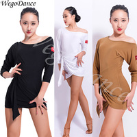 new sexy Latin dance dress inclined shoulder bat sleeve dance dresses tango costume woman freeshipping