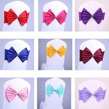 10 unids/lote Color marco silla Silla de satén fajas Spandex corbata de lazo Ajuste todas las sillas banquete de boda Hotel Fiesta Decoración