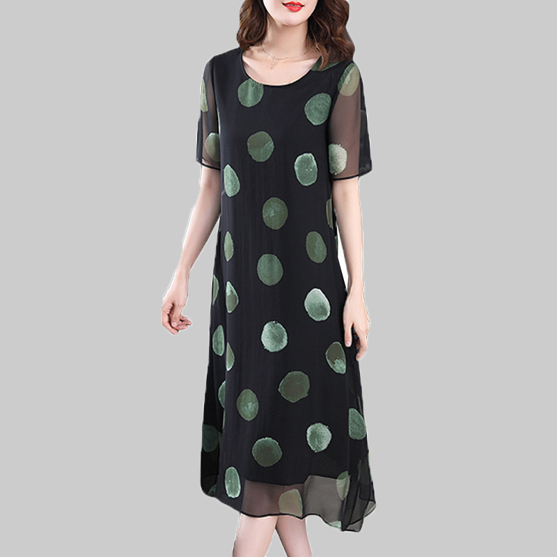 Party Chiffon Dresses Middle Age Mother Summer Long Dresses Big Size Women print Dot Vintage Dress women sundress Robe Vestidos image