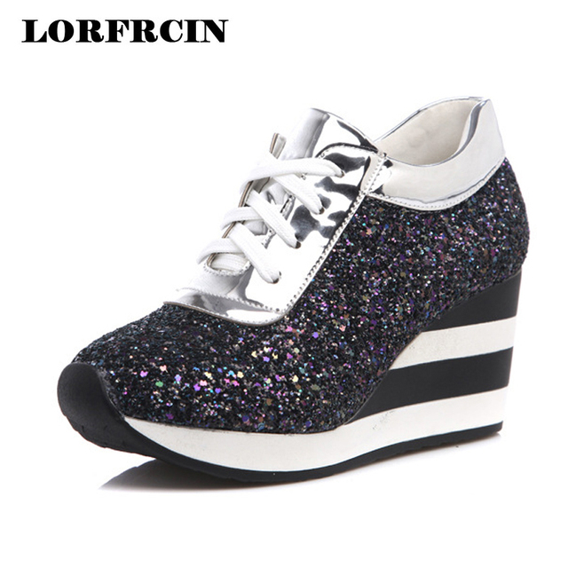 42837db2f3a1 Platfrom Shoes Woman 7.5 cm Wedges Casual Height Increasing Trainers Fashion  Sequins Women Shoes Sping Autumn 2018 Size 33~39