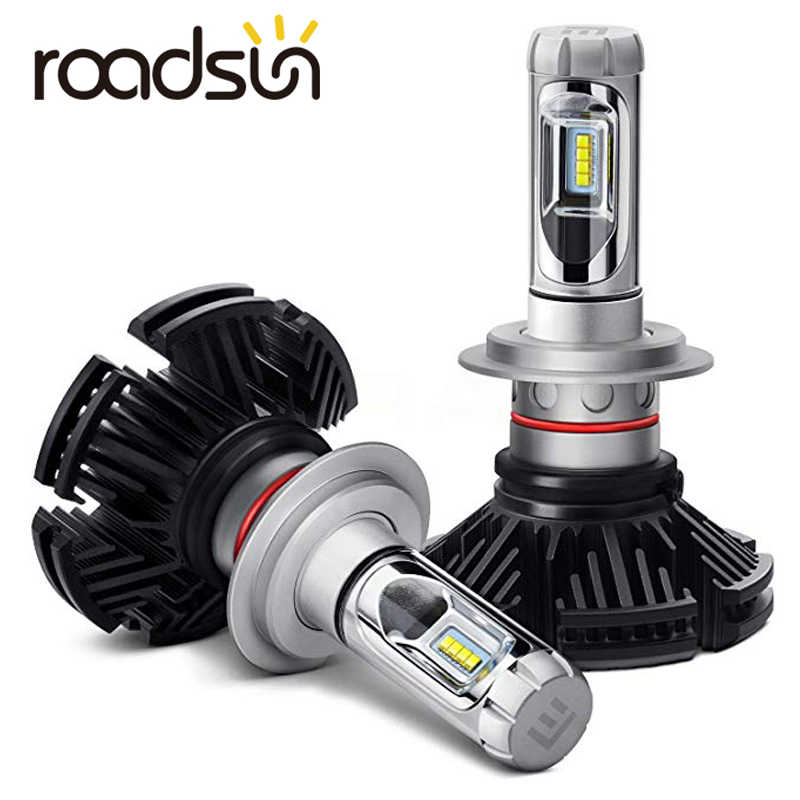 roadsun LED H7 H4 Car Headlight Bulb H11 9005 9006 HB3 LED lights Kit 50W 3000K 6000K 8000K Luxeon Lumiled ZES Chip Auto Lamp