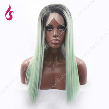 Long Straight  Ombre wig Dark Root Side Part Mint Green Synthetic lace front wig Cospla style  Lob  glueless  Wigs!!