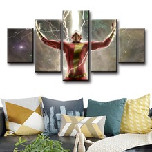5 Piece HD Movie Poster Pictures Billy Batson Captain Shazam Canvas Paintings Justice League Wall Art