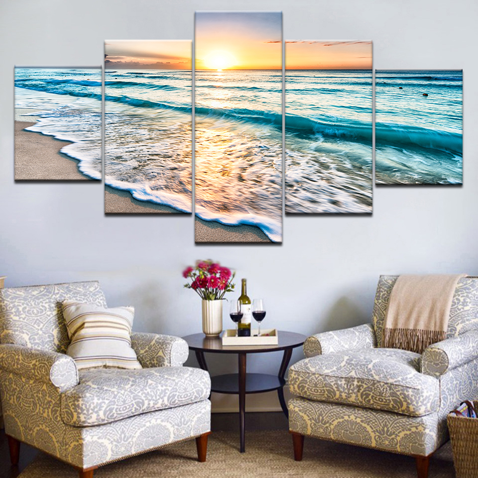 Seascape Palm Trees Sea Beach Blue Ocean Canvas Prints Painting Wall Art 5PCS
