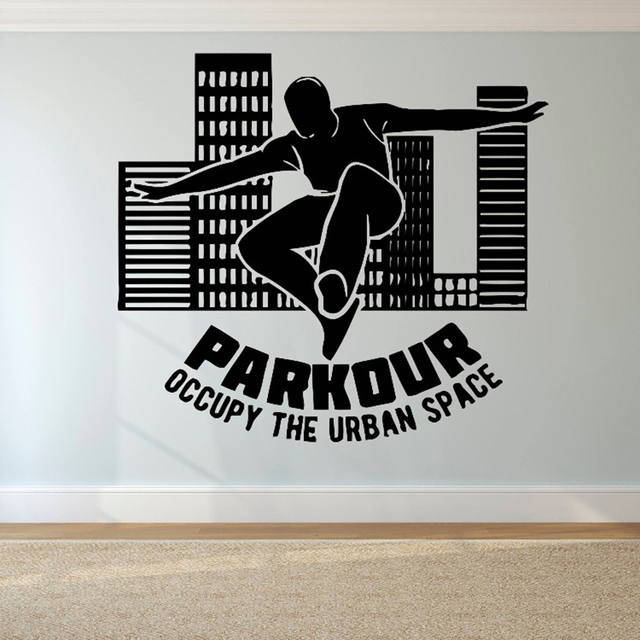 parkour logo wall sticker free running wall decal tracers jump
