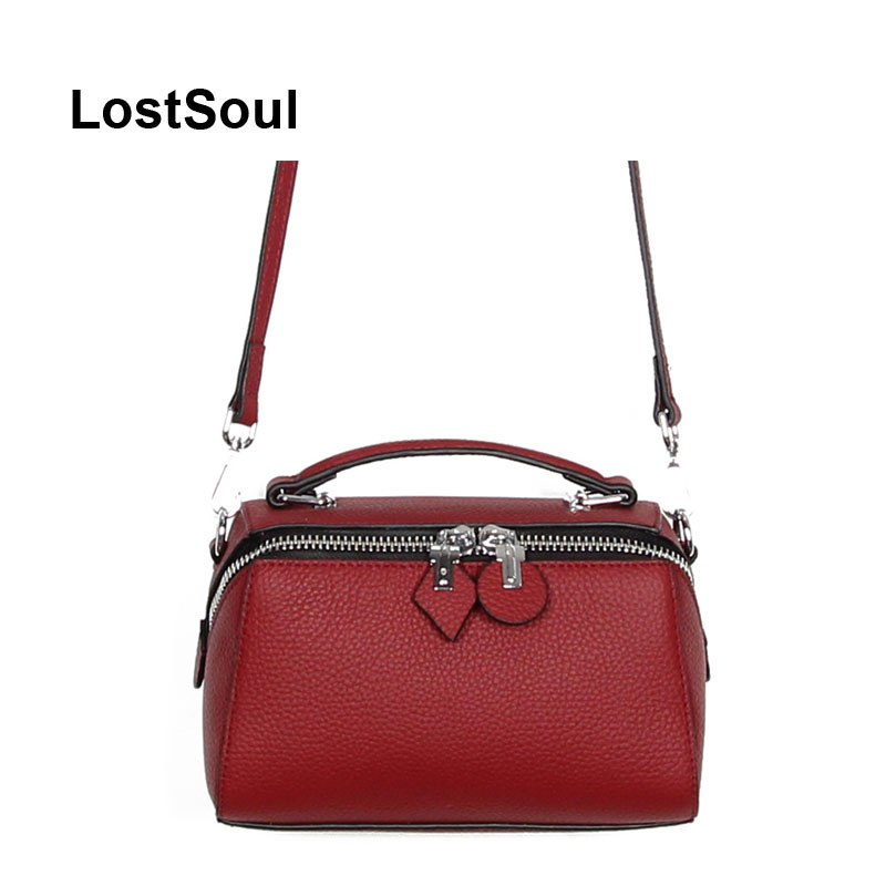 LostSoul Fashion Pillow bags women leather genuine vintage handbag Women Top Handle Bag Shoulder messenger boston