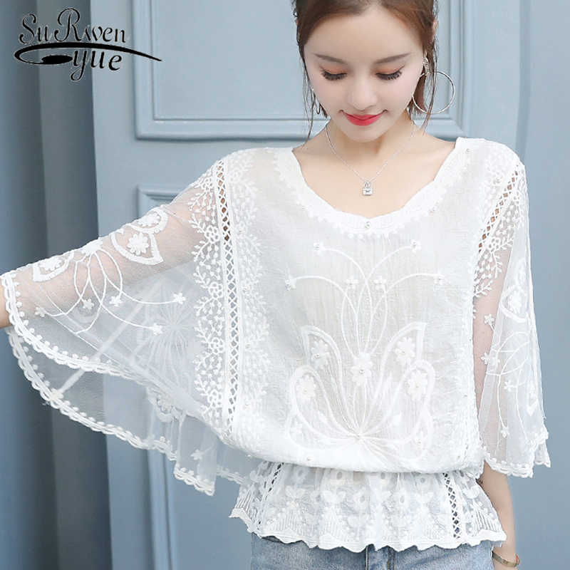 sexy hollow out stitching lace top 2019 new korean fashion women blouse elegant female office shirt Three Quarter blouse 4478 50