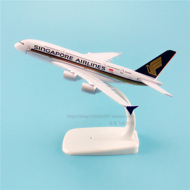 16cm Singapore A380 Aiplane Model 9V-SKA Singapore Airbus Airlines Airways Model Simulation A380 Alloy Aircraft Plane Model Toys