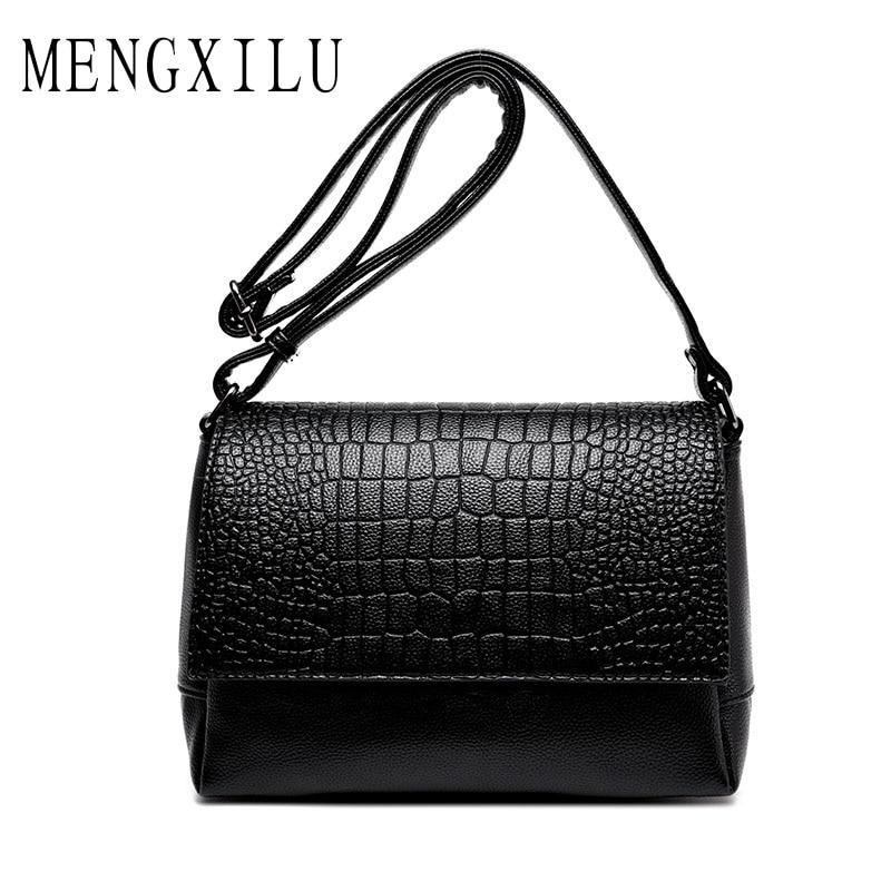 MENGXILU Brand Women Crossbody Bags Pu Leather Crocodile Pattern Soft Messenger Bag Female Clutch Small Cover Shoulder Bags