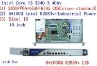 6 Intel PCI E 1000M 82583V Gigabit LAN B75 1U Firewall Appliance i3 3240 3.4GHZ Processor Pfsense Firewall Network hardware
