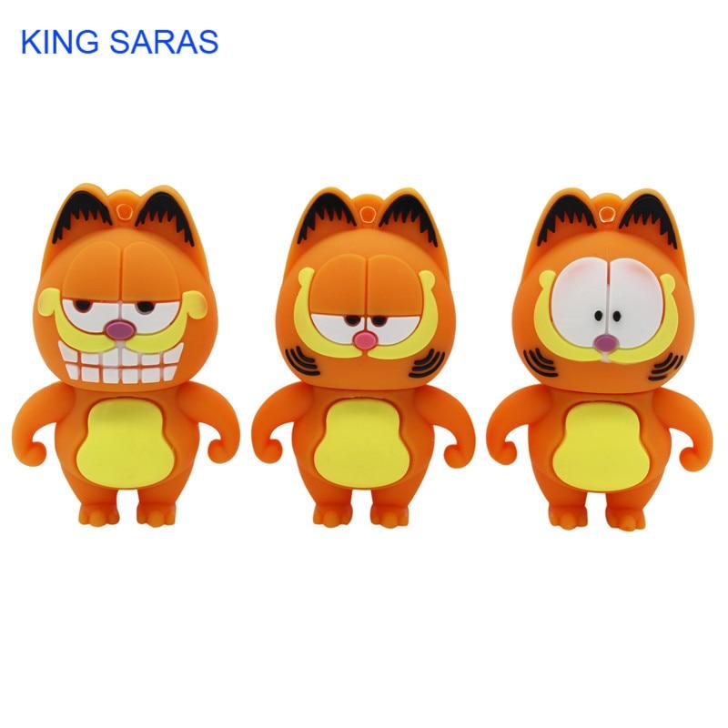 KING SARAS 64GB 3 Model Mini Cute Garfield Model Usb Flash Drive 4GB 8GB 16GB 32GB  Pendrive Usb 2.0 Cute Gift