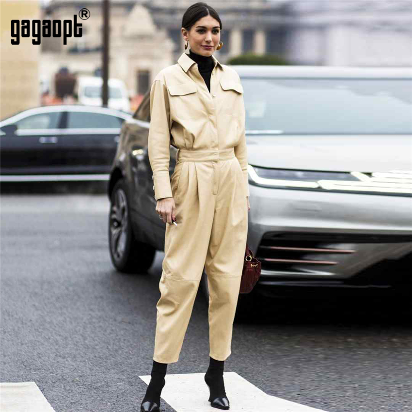 Promote´Gagaopt Winter Jumpsuit Women Overalls Khaki Long-Sleeve Vintage High-Street-Style Femme