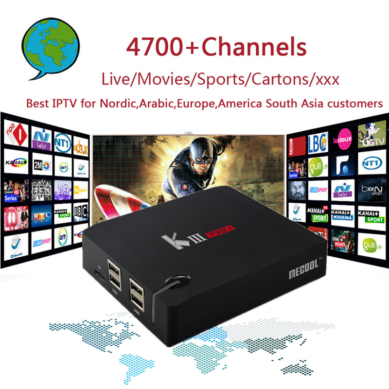 PRO IPTV KIIIpro TV Box Amlogic S912 Octa core DVB T2&S2 Android 6.0 3GB DDR3 16GB with 4700 Channels Nordic,Arabic,Europe IPTV