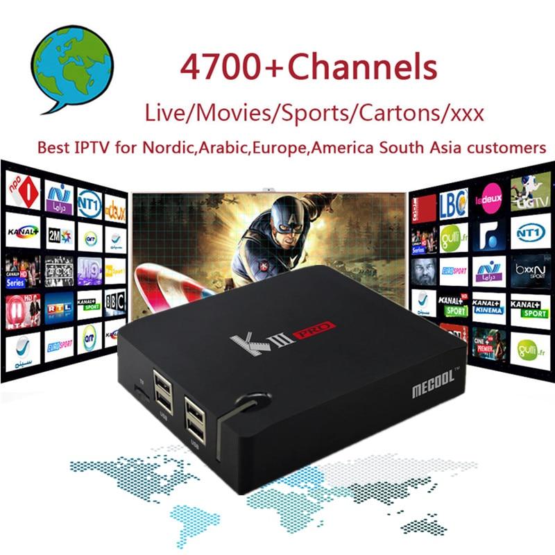 PRO IPTV KIIIpro TV Box Amlogic S912 Octa core DVB T2&S2 Android 6.0 3GB DDR3 16GB with 4700 Channels Nordic,Arabic,Europe IPTV
