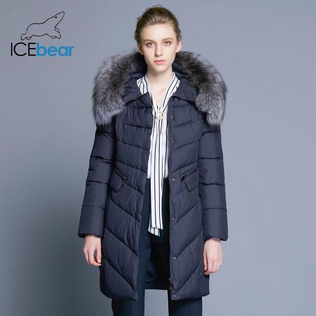Icebear 2017 воротник из натурального Мех пальто Для женщин куртка парки био-вниз теплый утолщение хлопок мягкий женский куртка пальто 17G6560D