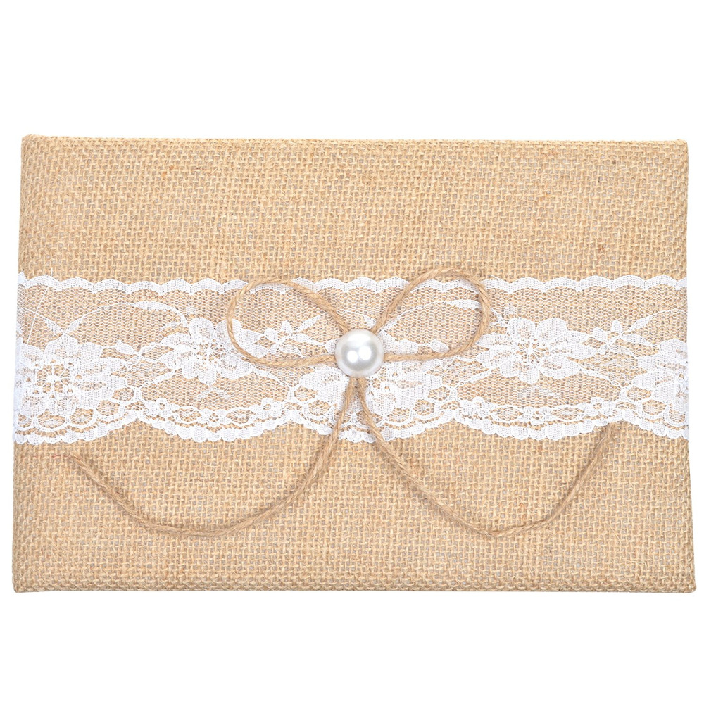 burlap and lace pearl design guest book for rustic weddingchina mainland