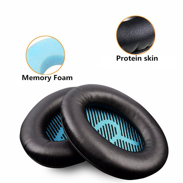 Replacement Protein Leather Foam Ear Pads Cushions for Bose for Quietcomfort 2 QC25 AE2 QC2 QC15 AE2I Headphones 9.7