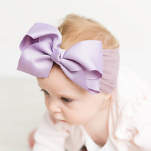 On Sale 1Pcs Kids Nylon Headband Toddler Infants Bows Hairband Baby Bebe Turban Bow Hair Accessories