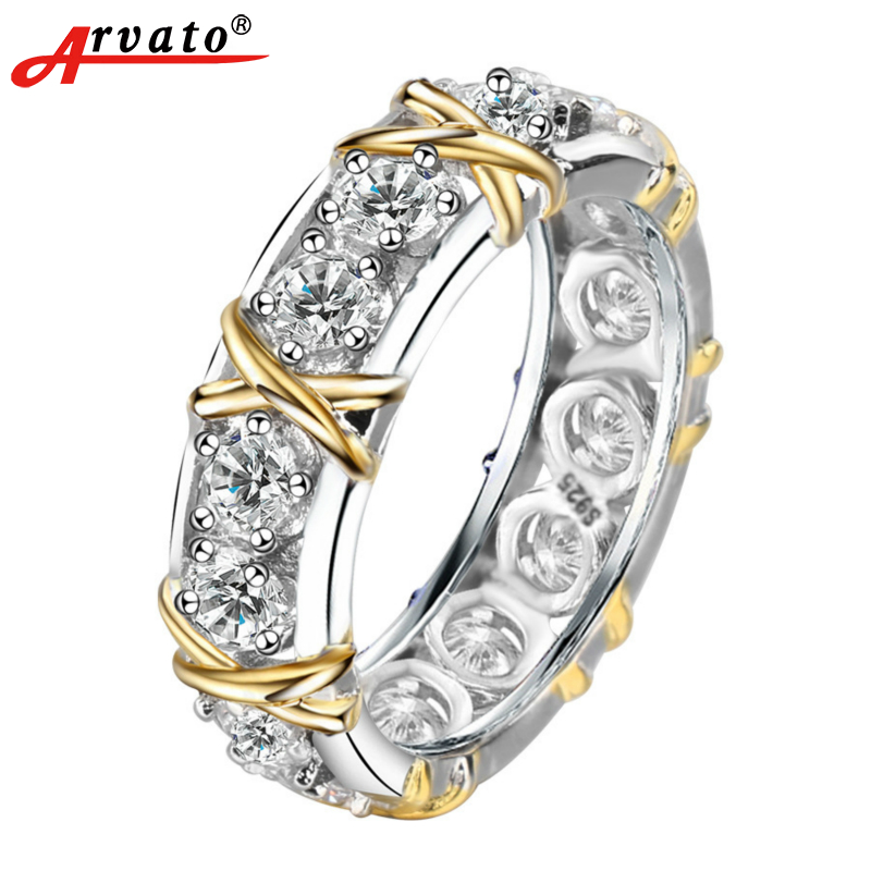925 Sterling Silver Rings for Women Zircon Love Engagement Wide Ring of stone anillos mujer bague femme argent 925