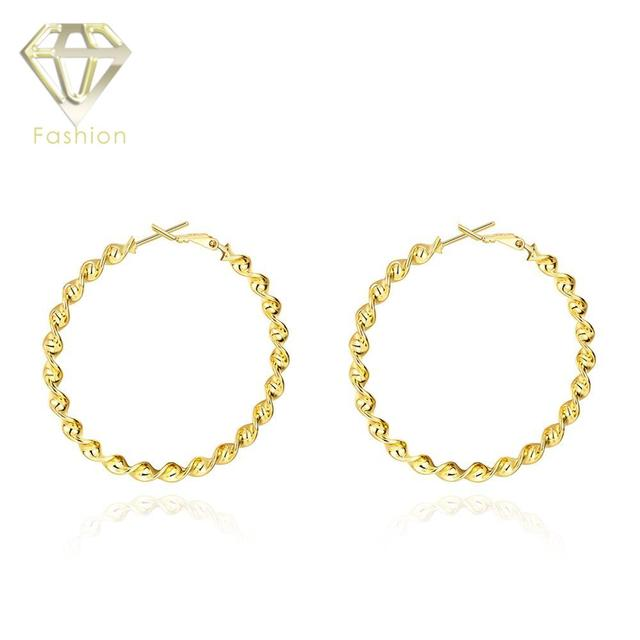 Plated Gold Hoop Earrings High Quality Exaggeration Round Shape Clic Twisted Trendcy Fashion Jewelry