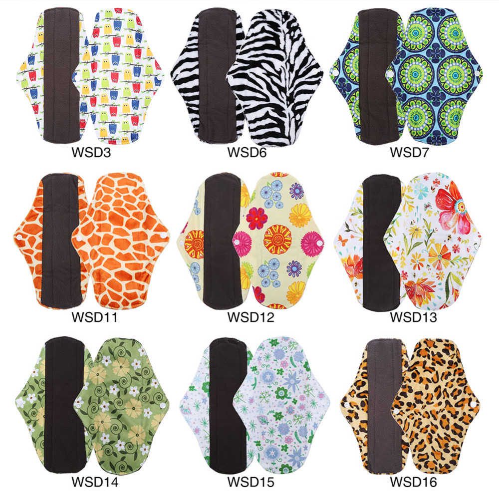 25x18 cm Washable Menstrual Pad Reusable Sanitary Menstrual Mama Pad Bamboo Cotton Cloth Feminine Hygiene Panty Liner Towel Pads [mumsbest] 10pcs bamboo cotton washable cloth maternity pads menstrual reusable sanitary pads napkin waterproof panty liners