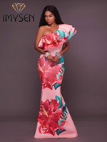 IMYSEN Summer Autumn Party Dress One Shoulder Ruffles Print Dresses New Arrive Empire Multicolor Maxi Vestidoes