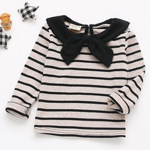 Children Clothing Autumn Spring Baby Girls T Shirt Cotton Long Sleeve Girls Tee Tops Sailor Collar Striped T Shirt Toddler 0-5Y недорого