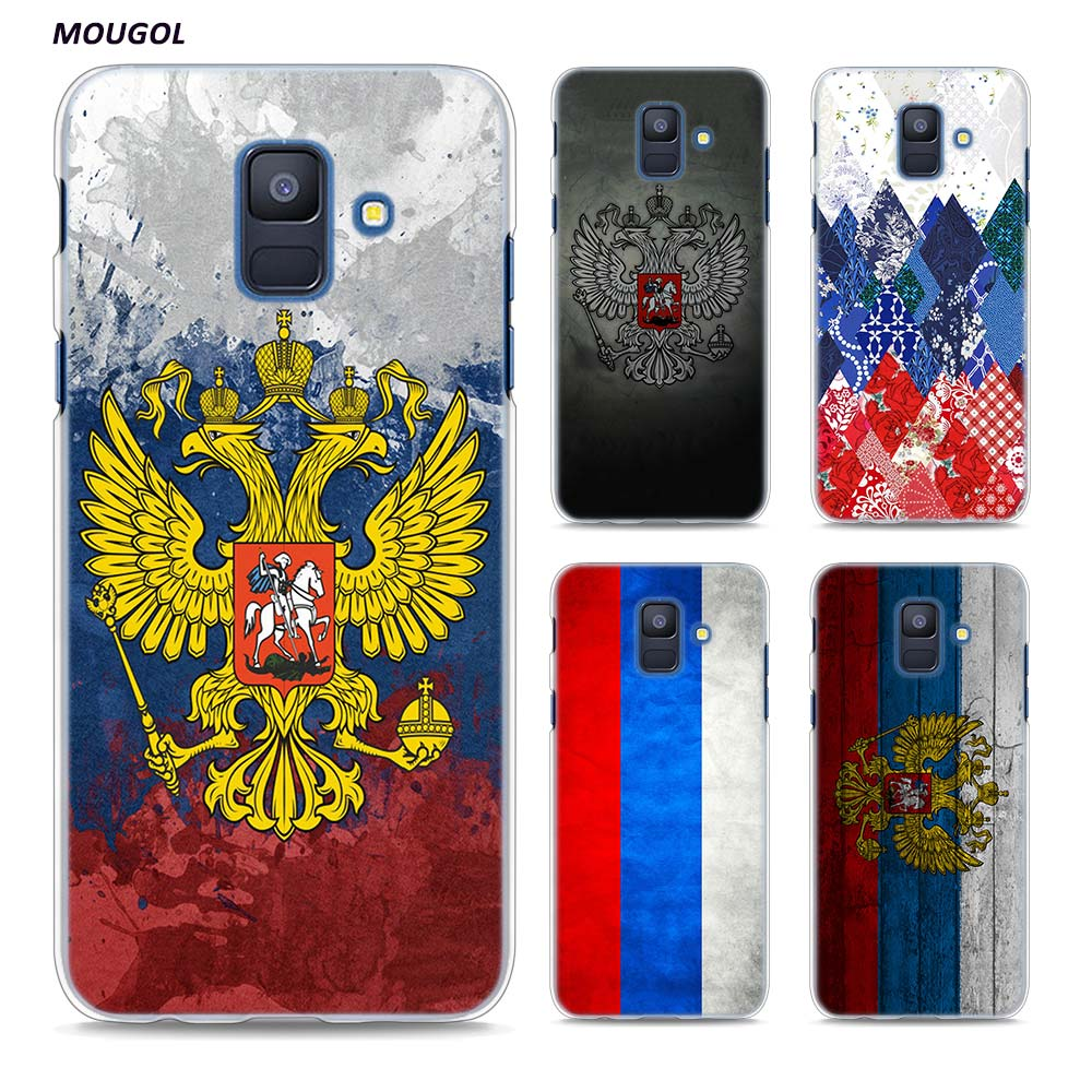 MOUGOL Russia Coat of arms Double headed eagle Clear Hard Phone Case cover for Samsung Galaxy A6 A8 A6+ A8+ Plus J4 J6 J8 2018