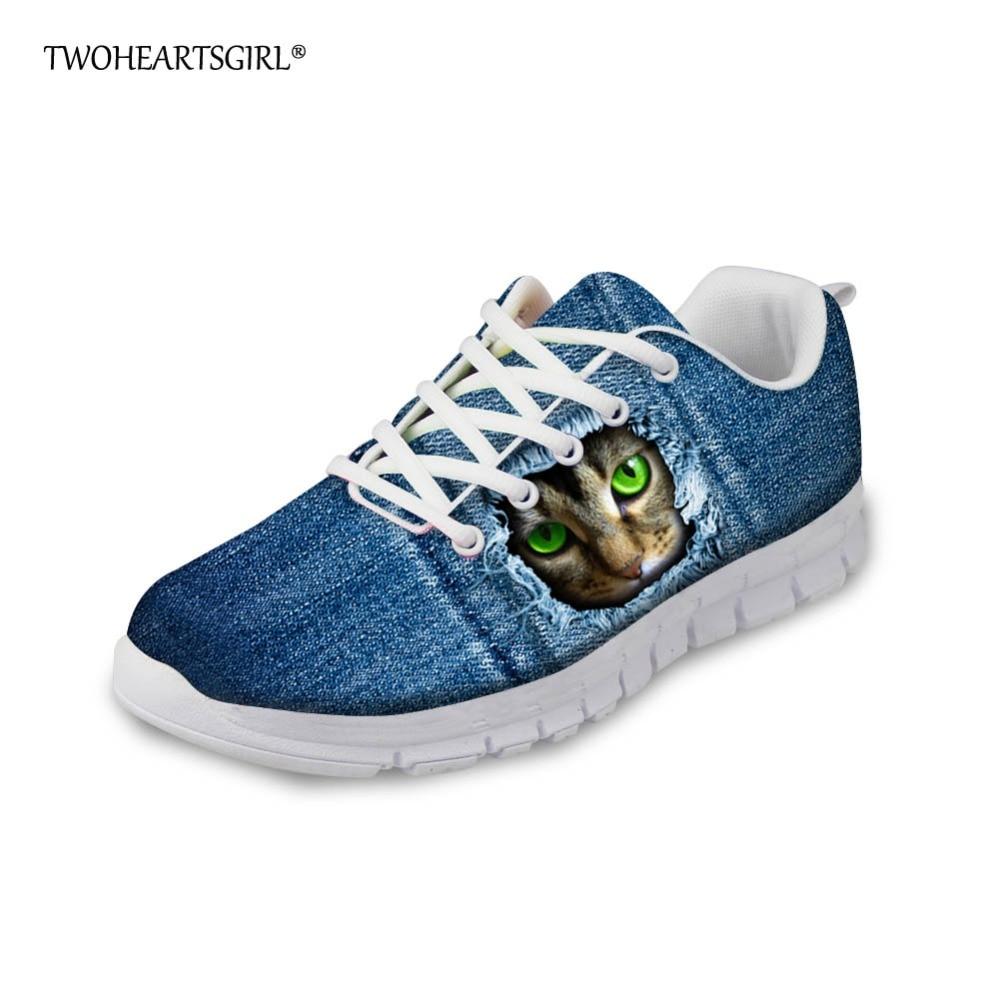 Twoheartsgirl Cute 3d Animal Denim Cat Print Vulcanize Shoes Lace Up Mesh Sneakers For Women Lightweight Female Ladies Flats