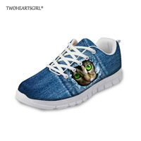 Twoheartsgirl Cute 3d Animal Denim Cat Print Vulcanize Shoes Lace Up Mesh Sneakers for Women Lightweight Female Ladies Flats