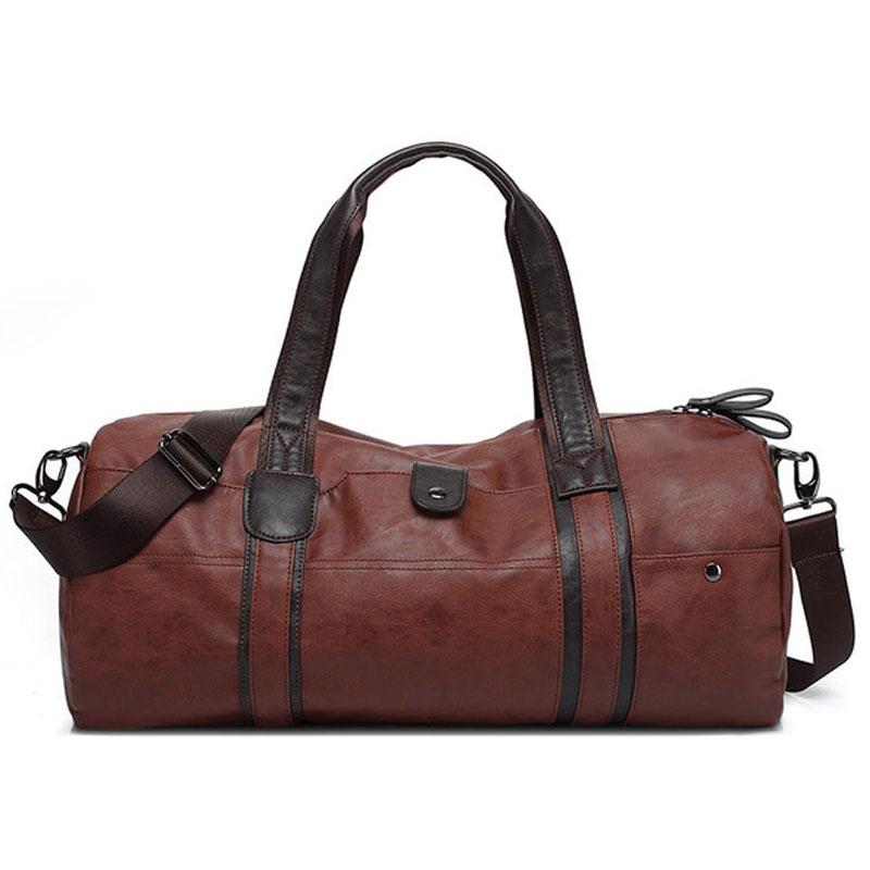 Sports Bag Men for Gym Yoga Soft Pu Leather Black Brown Cylindrical Sport Fitness Bag Male Shoulder Travel Luggage Bag XA594WD цена