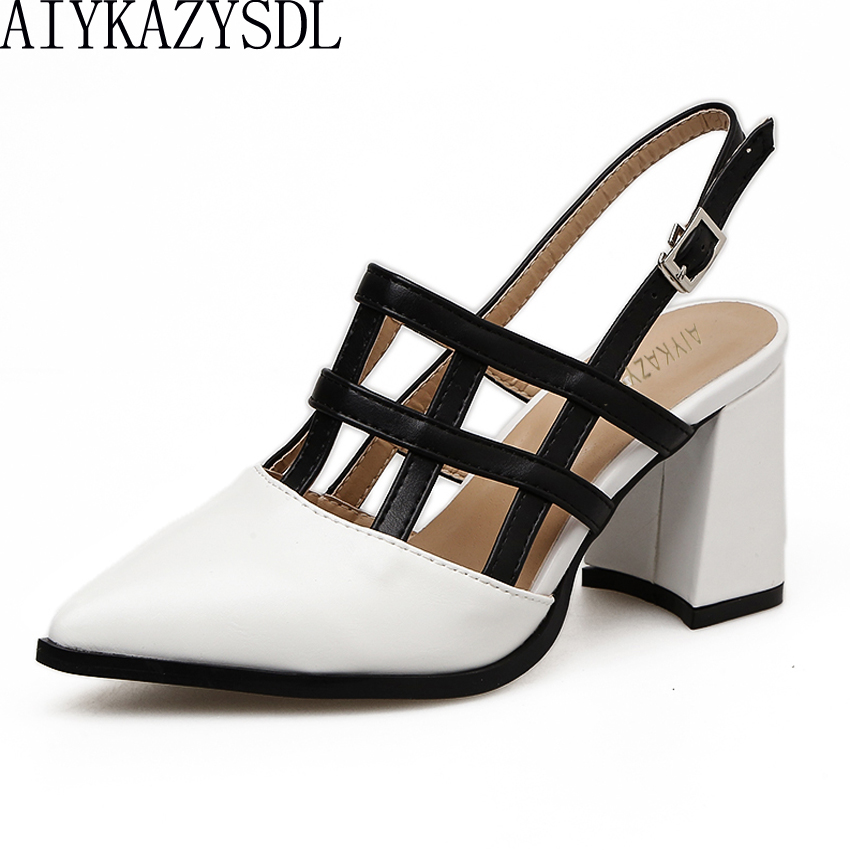 AIYKAZYSDL Gladiator Sandals Summer Shoes Women Black White Mixed Color Pointy Toe High Heels Cut Out Slingback Thick Heel Pumps british fashion sandals black white mixed color high heels shoes woman gladiator huarache open toe chaussure femme dress booties