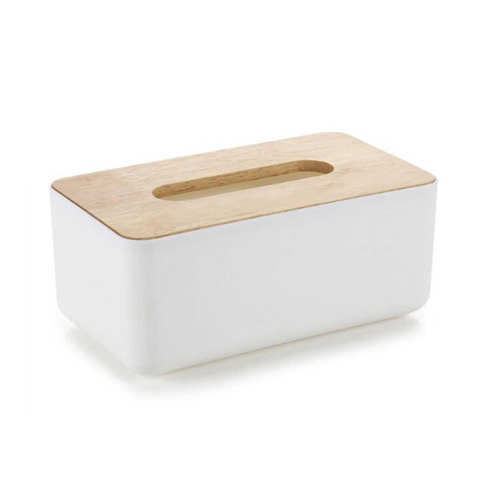 Деревянная коробка ткани прямоугольной ткани Бумага Обложка держатель для Офис 23x13x10 см