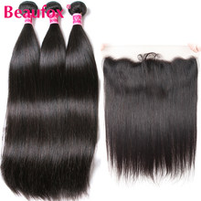 Beaufox Brazilian Hair Weave 3 Bundles With Frontal Closure Straight Hair With Frontal Remy Human Hair With Frontal Closure(China)