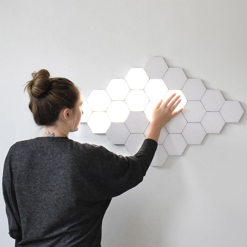 Dropship Modular LED Quantum Lamp Magnetic Hexagons Touch Sensitive Night Light Creative Wall Lamp For Home Wedding Decoration