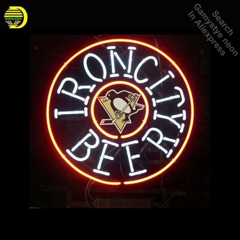 Neon Signs for IronCity Beer Sports Team PP Neon Light Sign Handcrafted arcade Neon Bulb Decorate Home Display Room dropshipping