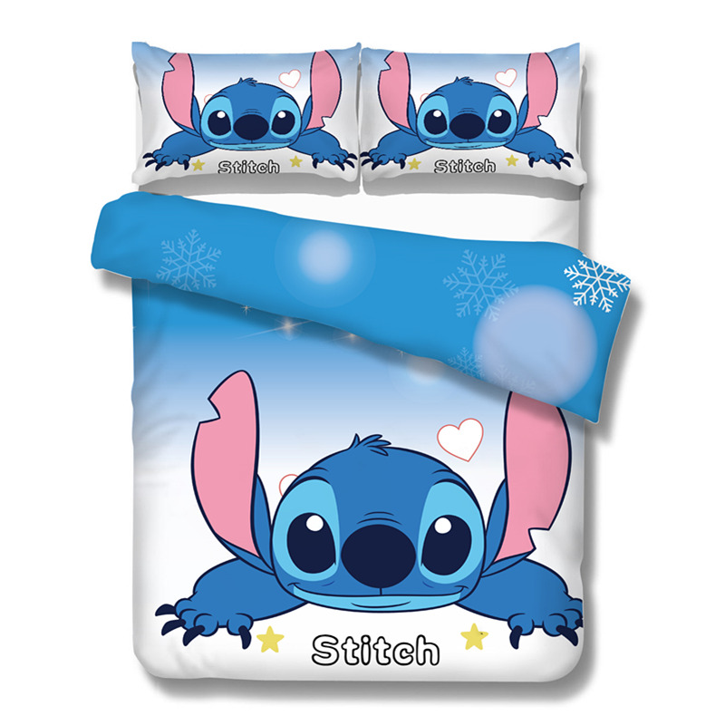 Blue Disney Cartoon Lilo and Stitch Bedding Sets for Boys Bedroom ...